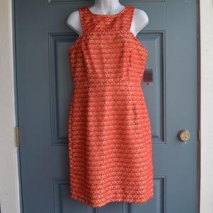 * Burnt Orange/Peach Lace Overlay Dress/Gabby Skye